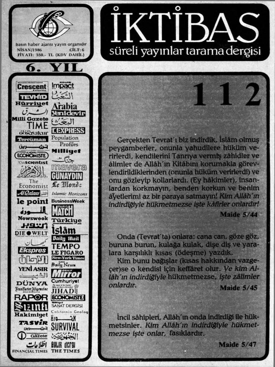 6. Cilt 112. Sayı