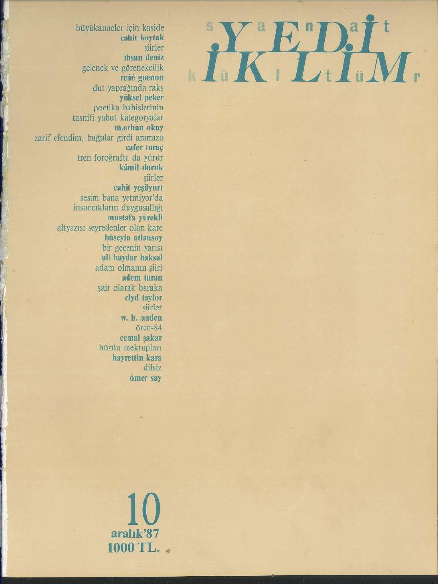 1. Cilt 10. Sayı