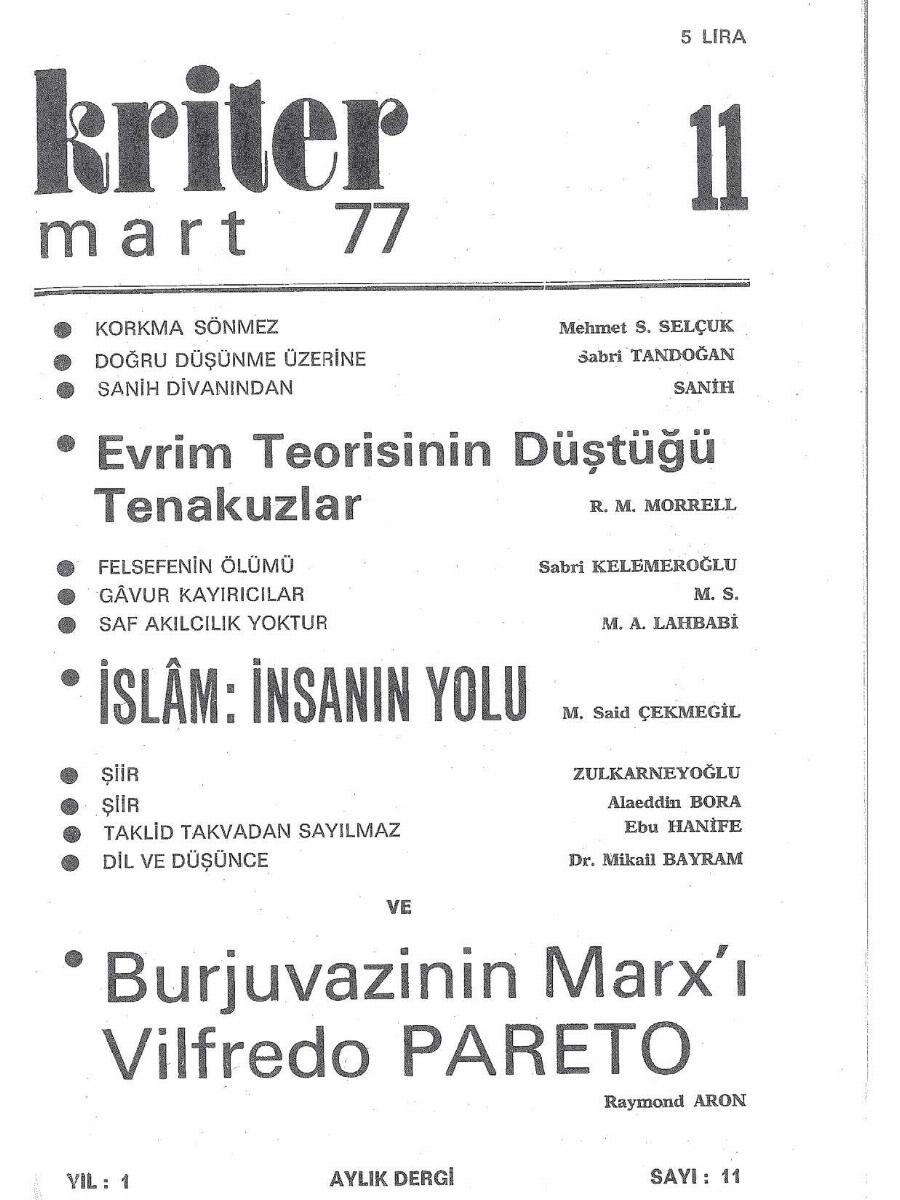 1. Cilt 11. Sayı