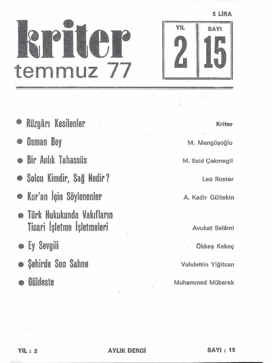 2. Cilt 15. Sayı