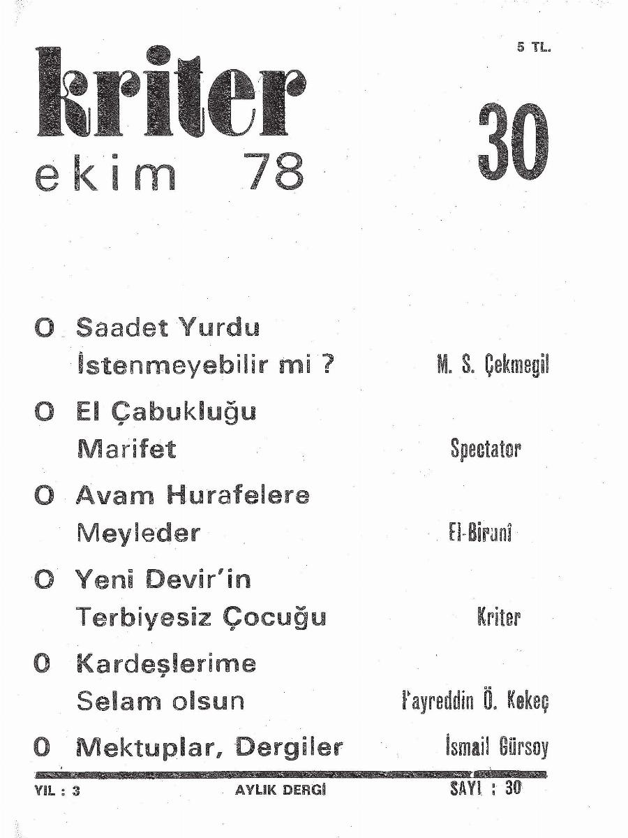 3. Cilt 30. Sayı